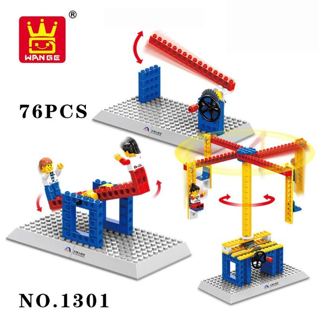 Wange Bricks Mechanical Toys Carrousel Plastic Model Kits Building Blocks Kids DIY Enlighten Toys Application Of The Crown Gear