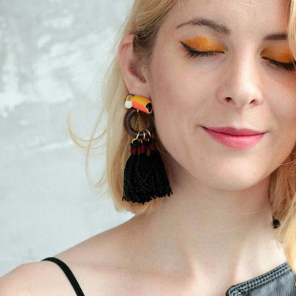 eManco Vintage Asymmetry Drop Earring Cute Bird &Red Circle link black Tassel earrings 2017 fashion jewelry gifts for women