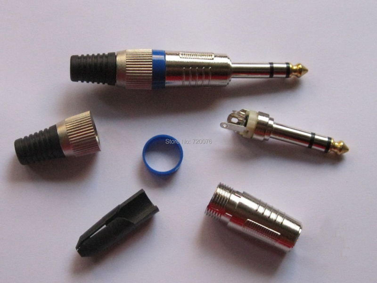 цена на 20 pcs 6.35mm Stereo Audio Plug Head Gold Plated Blue