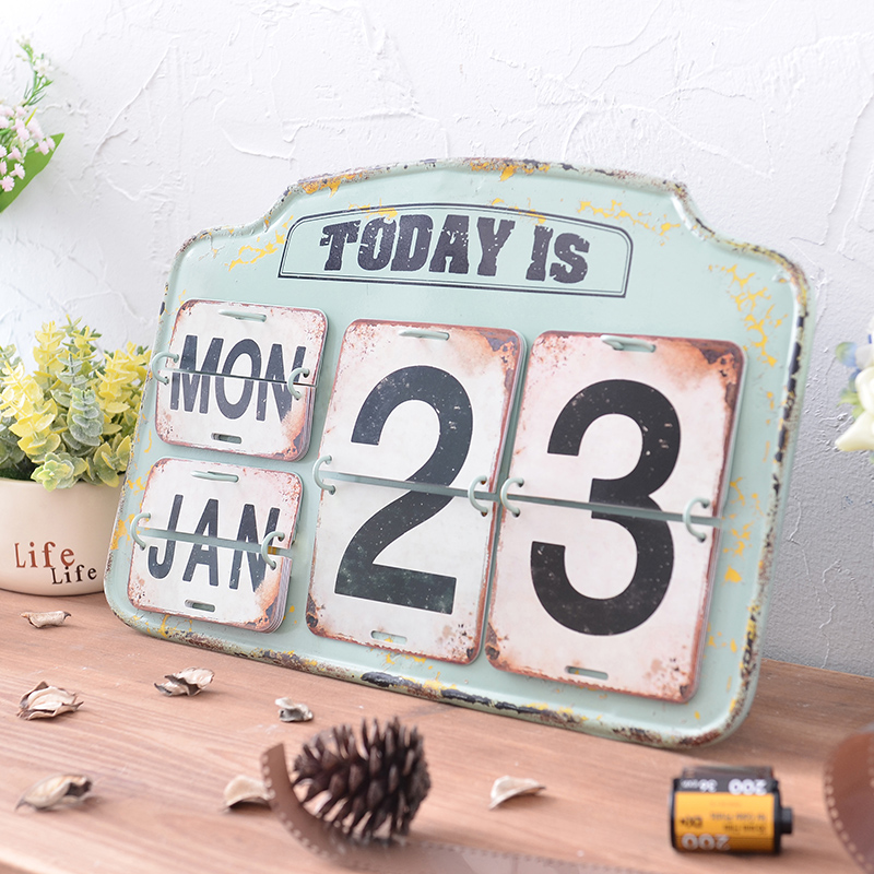 Creative Retro Iron Calendar Decoration Living Room Interior Soft Decorations Office Desk Crafts