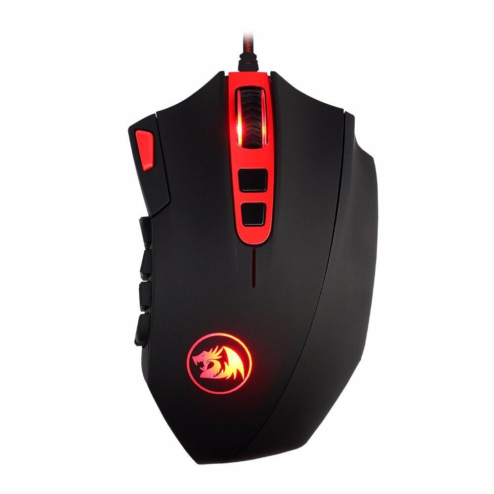 Redragon M901 погибель 24000 Точек на дюйм Высокая точность программируемых кнопок лазерная игровая Мышь для ПК компьютер Gamer