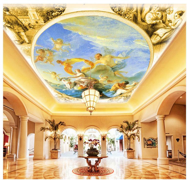 3d mural designs wallpaper 3d mural angel ceiling for Decoration cost per m2