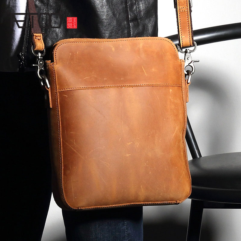 AETOO New retro cowhide small shoulder bag men leather Messenger bag crazy horse leather section of the file package aetoo new front cowhide retro leather shoulder bag men travel backpack europe and the united states crazy horse leather