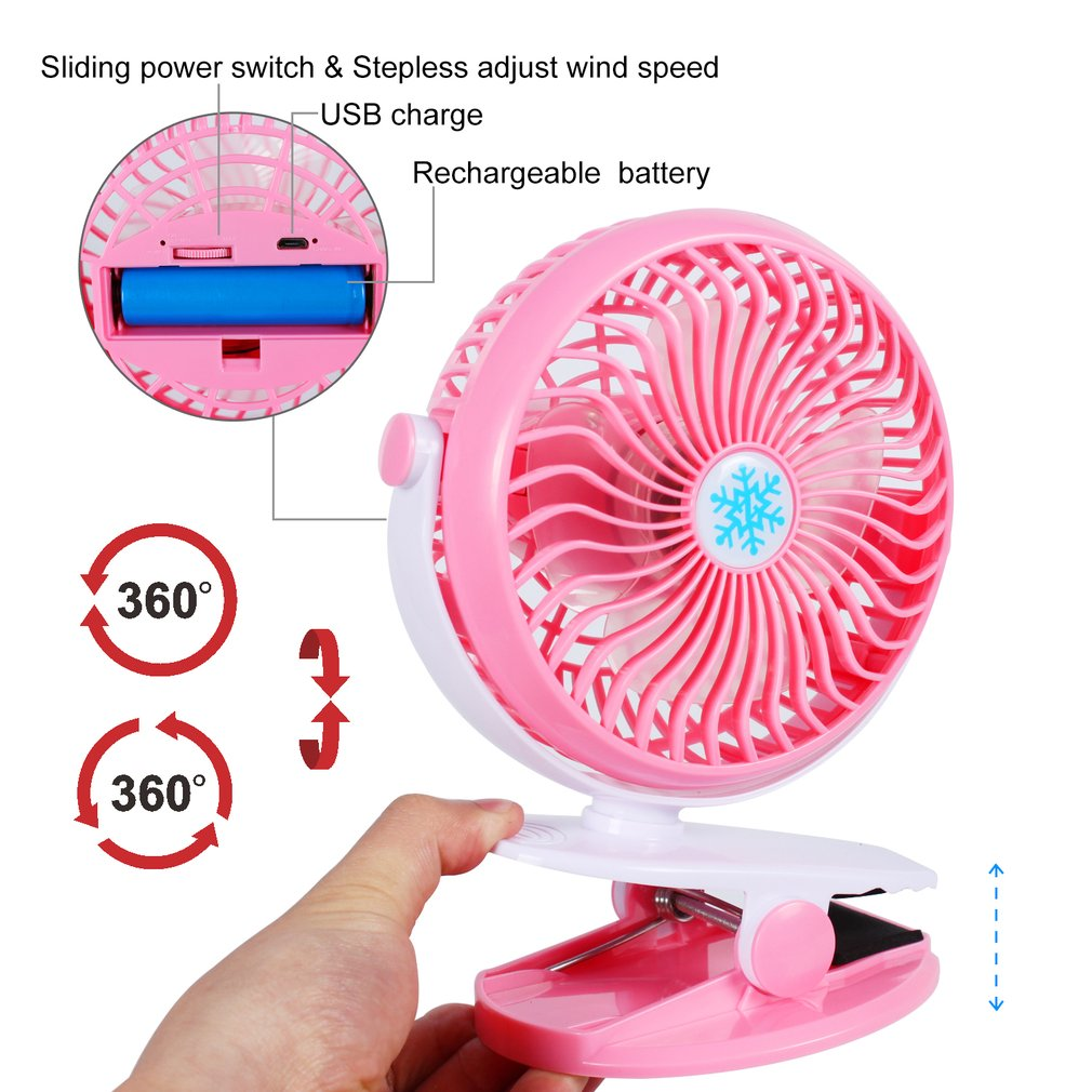 USB Mini Clip Fan With Battery 360 Degree Rotation Charge Stepless Speed Desktop Fans Electric Cooling Fan For Home Office