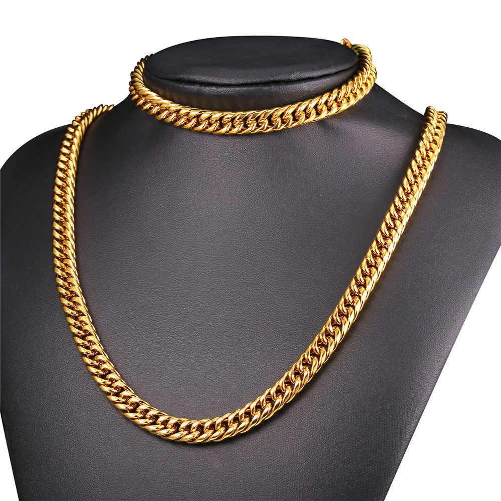 U7 New African Jewelry Set Necklace Set Wholesale HipHop 9MM Width Cuban Chain Men Necklace Bracelet Ethiopian Jewelry Sets S843
