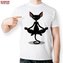 Funny Schwarze Katze In Meditation T-shirt Aussenseiter Leben T-shirt stil Coole Männer Frauen Gedruckt Top T Mode Lässig Neuheit t-shirt