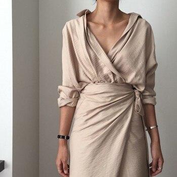 CHICEVER Bow Bandage Dresses For Women V Neck Long Sleeve High Waist Women's Dress Female Elegant Fashion Clothing New 2020 5