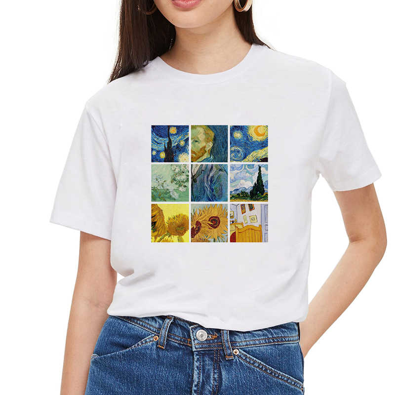 2019 Women Harajuku Short Sleeve Graphic Tees Tops Vintage T-shirts Vincent van gogh starry night aesthetic White Tshirts