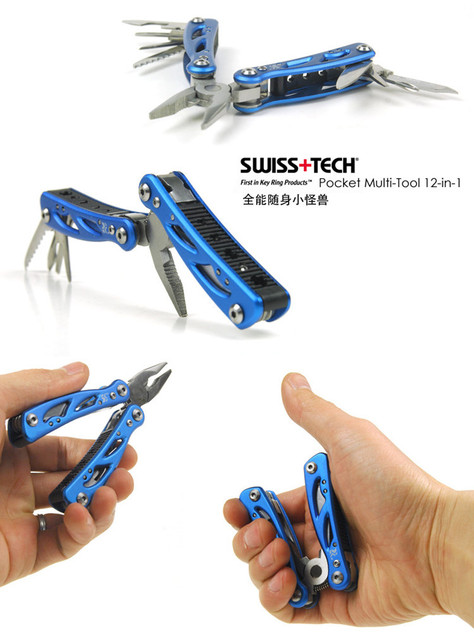 Swiss Tech Pocket Multi-tool 12-in-1 Pliers Folding Knife EDC Outdoor Camping Equipment Survival Screwdriver Travel Kits Gear