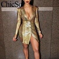 MissyChilli, сексуальное короткое платье с золотым змеиным принтом, облегающее, элегантное, винтажное, офисное, женское, Блейзер, платье, Осень-зи...