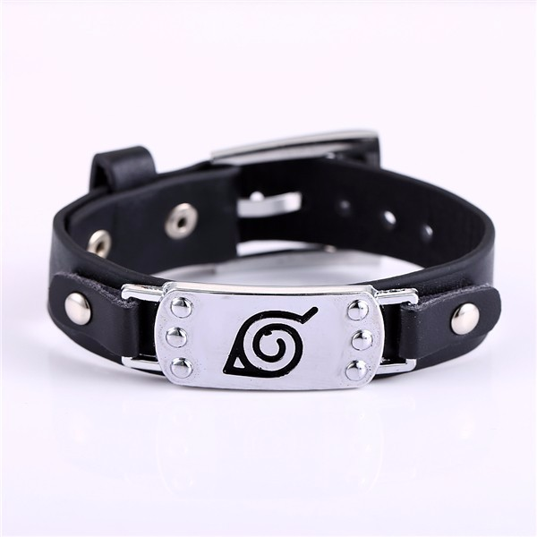 Best selling MOSU Hot font b anime b font Naruto Silver Alloy Bracelet Leather Punk Bangle