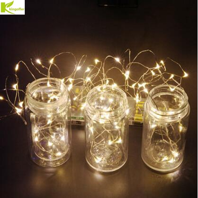 kingoffer 2m 20 led ultra thin silver copper wire string lights fairy aa battery operated for