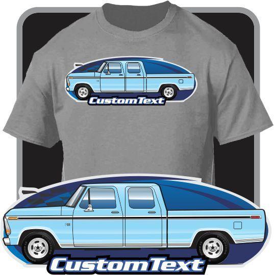 2018 Men'S Fashion Custom Art TShirt 1973-79 F-250 V8 Custom Crew Cab Pickup not affiliated w American Classic Car Fans Base Tee