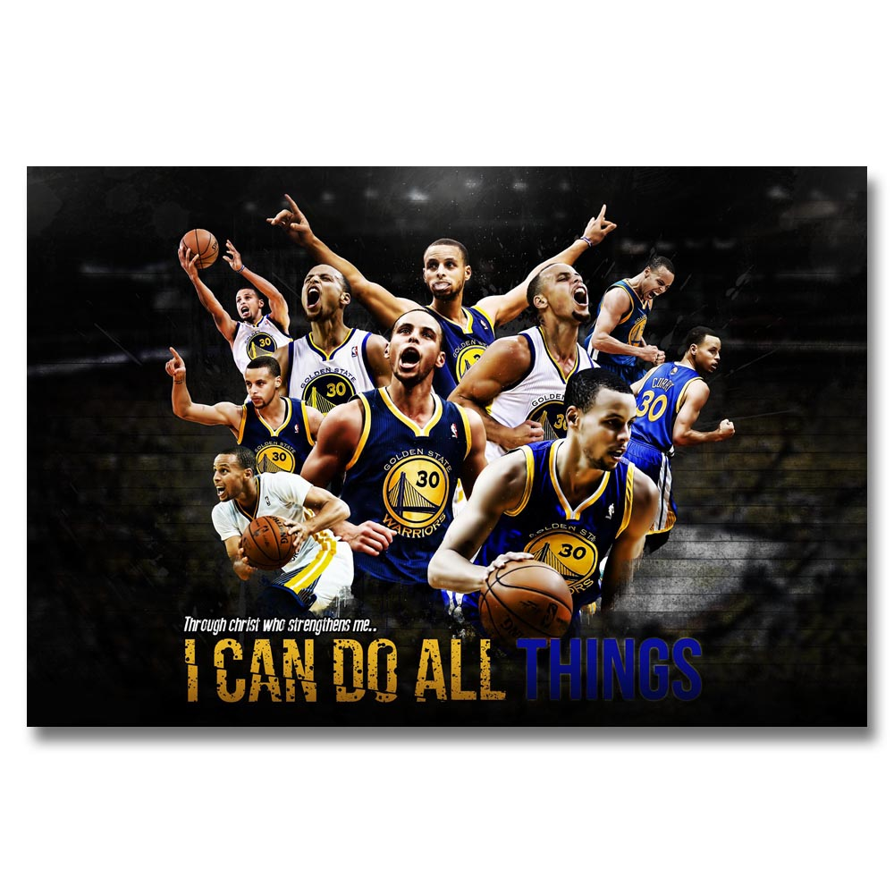 A353 Golden State Warriors Hot NBA Basketball MVP Stephen Curry Top A4 Art Silk Poster Light Canvas Painting Print Home Decor Ro In Calligraphy