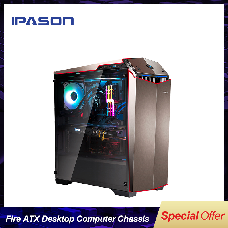 HOT SALE IPASON Flowing Fire ATX E-sport Desktop Computer Mainframe Case/ ATX side through E-sports chassis