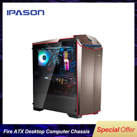 HOT SALE IPASON Flowing Fire ATX E sport Desktop Computer Mainframe Case/ ATX side through E sports chassis