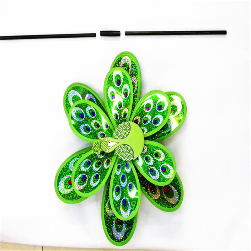 CIKOO 1Pc Hot Double Layer Peacock Laser Sequins Windmill Colorful Wind Spinner Kids Toy