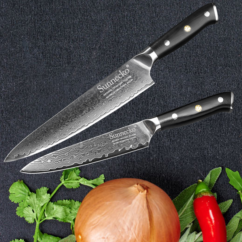 High Quality SUNNECKO 2PCS Professional Kitchen Knife Set Japanese VG10 Damascus Steel Utility Chef Cooking Knives