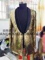 Oro a largo chaqueta del traje chaqueta outwear para hombre ropa para bailarín del cantante novio del funcionamiento demostración del vestido discoteca fiesta bar DJ DS