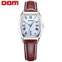 DOM Leather Strap Watch Luxury Brand Women Waterproof Simple Quartz Watches Female Fashion Ladies Square Watch Hot G 1012L 7M
