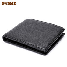 PNDME high quality genuine leather mens short  thin wallet casual simple first layer cowhide soft black ID Holders coin purses