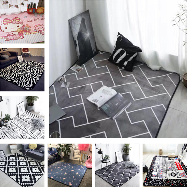 Style Europeen Gris Couleur Bande Tapis Chambre Tapis Antiderapant