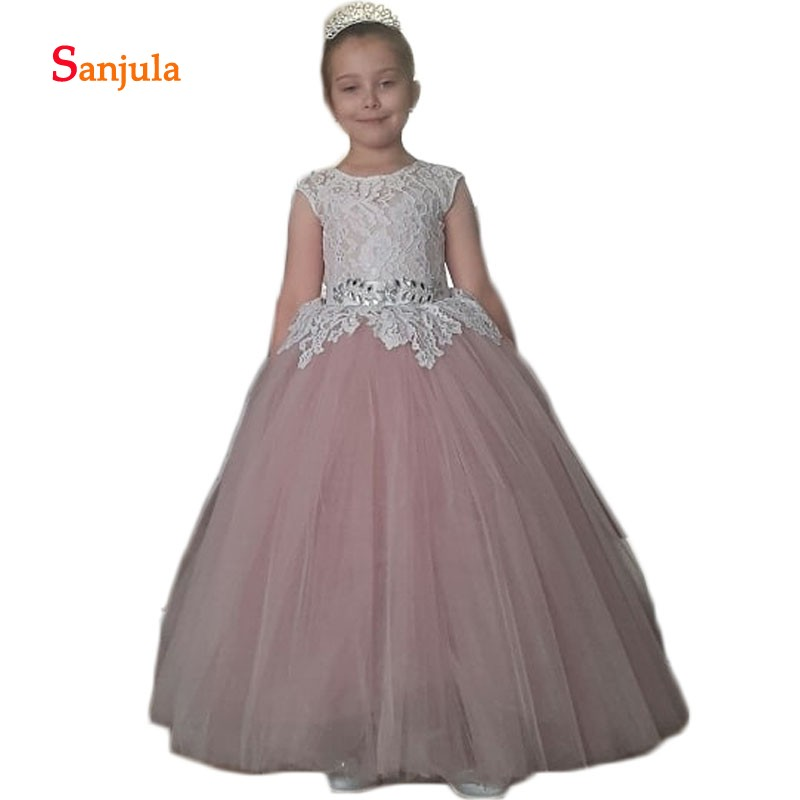Blush Pink Tulle Formal   Dress   for Little   Girls   Lace Top with Beaded   Flower     Girls     Dresses   2018 Puffy A-Line Open Back   Dresses   D70