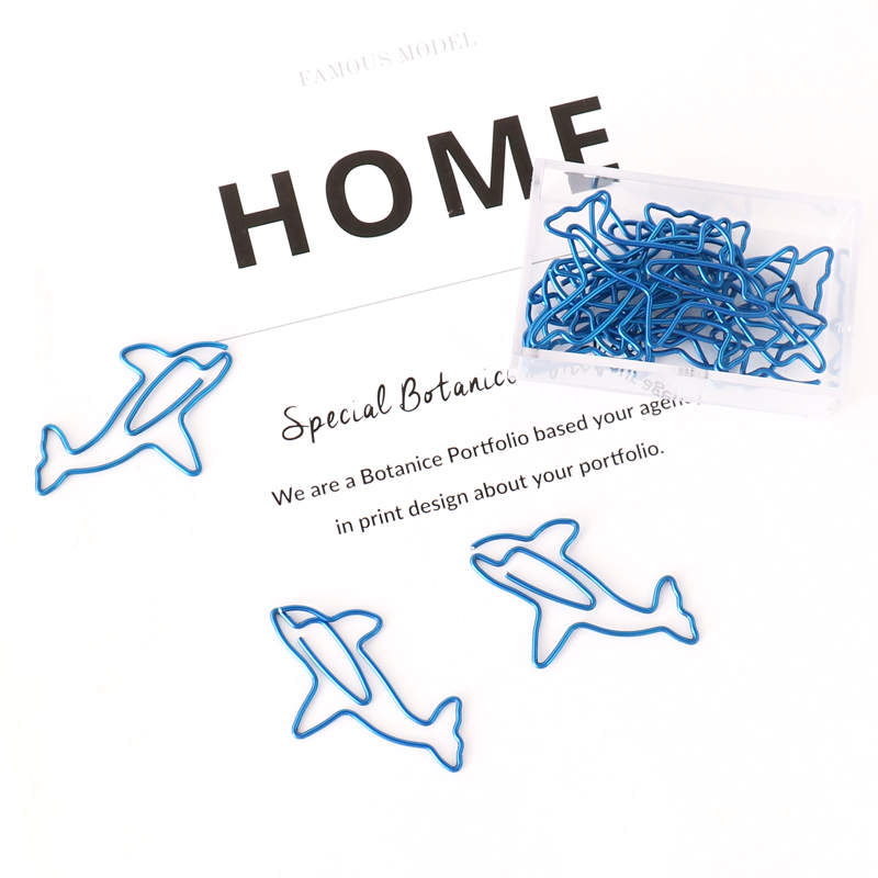 15pcs/box Cartoon Animal Shape Paper Clips Blue Dolphin Creative Scrapbook Memo Clip Binder Paperclips Bookmark Stationery