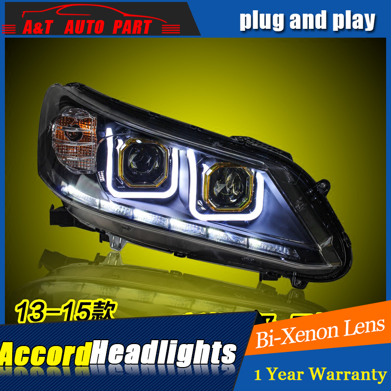 Car Styling For Honda Accord 9 headlights For Accord LED head lamp Angel eye led DRL front light Bi-Xenon Lens xenon HID union car styling for renegade headlights for renegade hid head lamp angel eye led drl front light for jeep renegade hid lamp