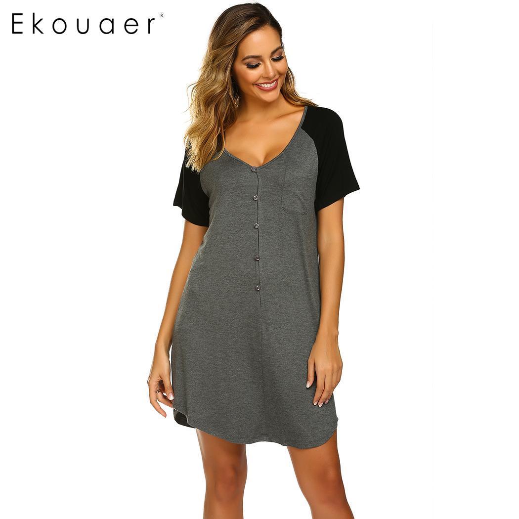 Ekouaer Women Lounge Wear   Nightgown   Home Sleepwear Front Button V-Neck Short Sleeve Patchwork Loose   Sleepshirts   Night Dress