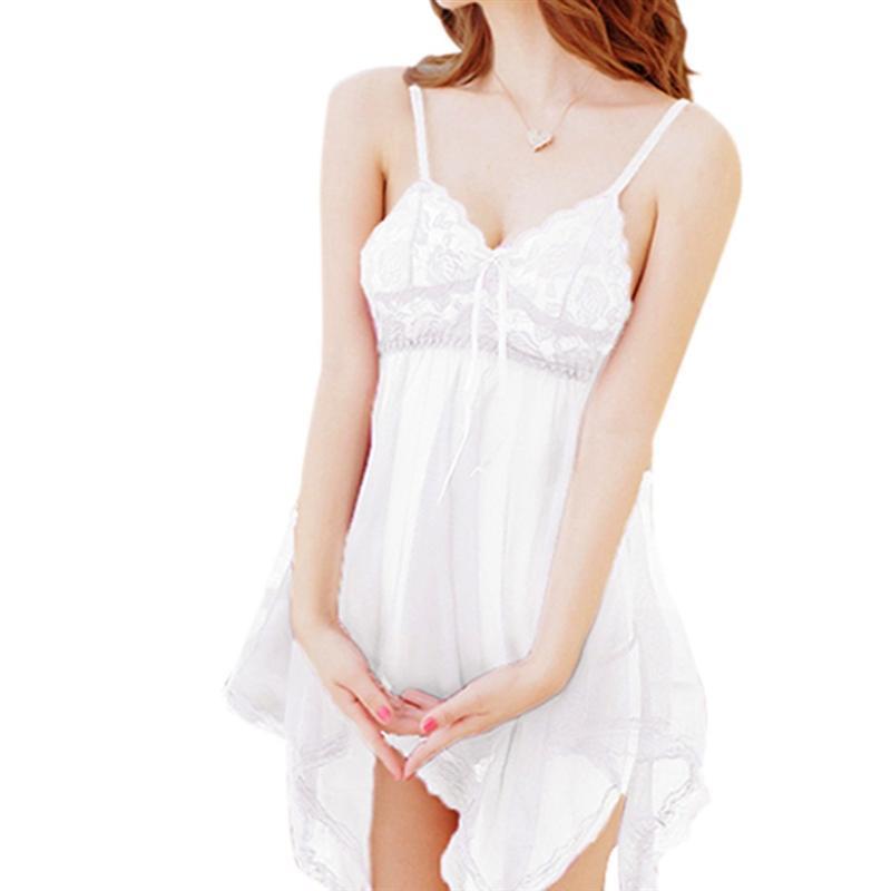 Summer Women Sexy Lace Belt Skirt+ Din -strin Linerie Dress Nihtdress Robe Chemise Sleepwear Femme Nihtown