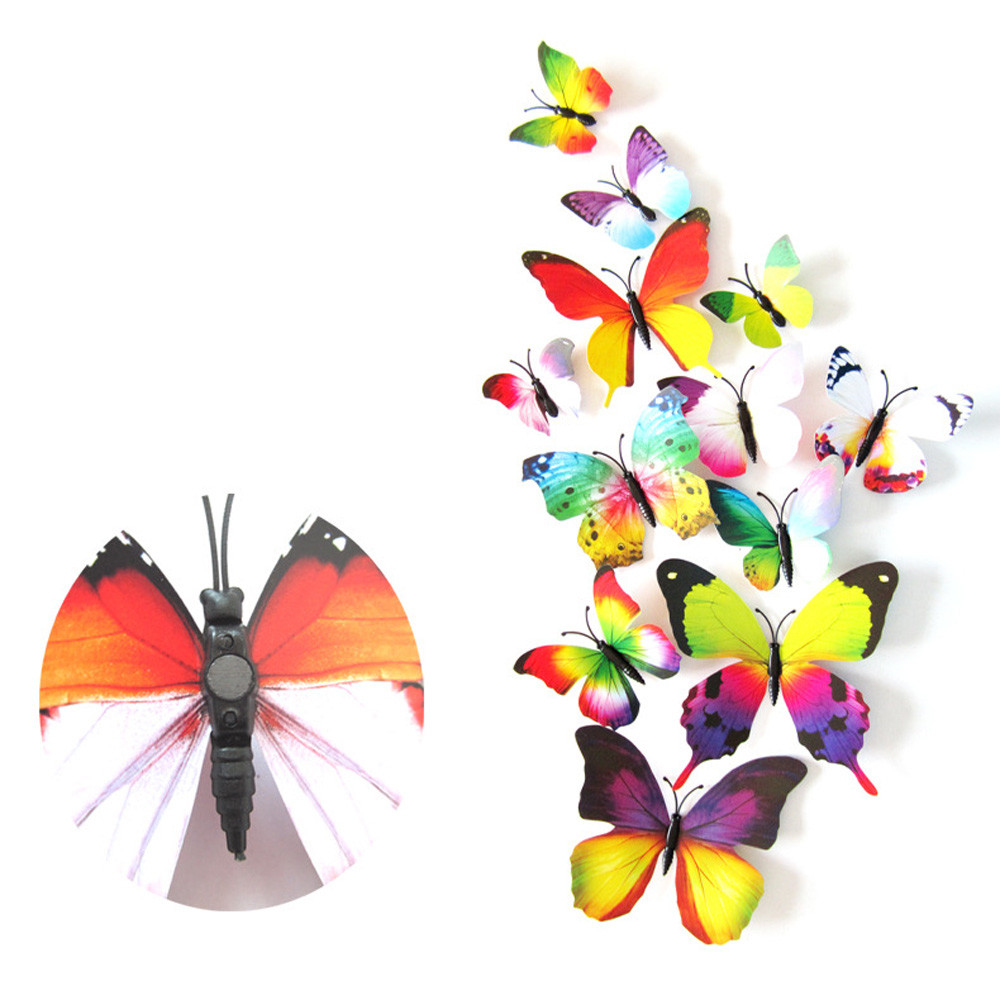 online get cheap 3d butterfly wall aliexpress com alibaba group 2017 new creative 3d 12pcs decal wall stickers home decorations 3d butterfly rainbow stickers dropshipping 530