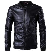 Men's Leather Jackets Men Stand Collar Coats Male Motorcycle Leather Jackets New Fashion Casual Slim Leather Clothing Size 5XL