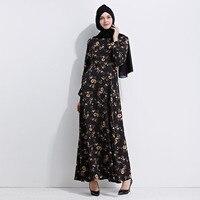 Frauen Vintage Maxi Muslimischen Kleid Weibliche 2017 Sommer Floral Bedruckte Kaftan Kleid Elegante Volle Länge Dubai Indische Büro Kleider
