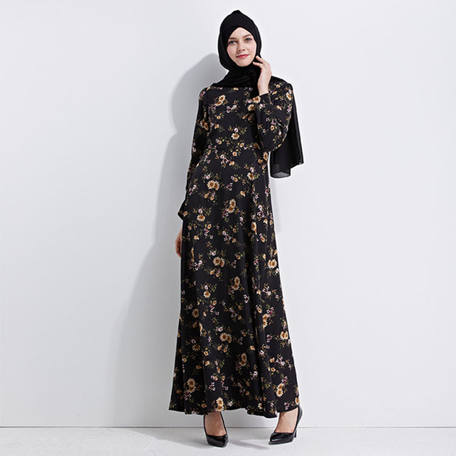 Women Vintage Muslim Maxi Dress Female 2017 Summer Floral Printed Kaftan  Dress Elegant Full Length Dubai Indian Office Dresses f0f0a4607