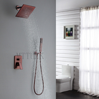 MTTUZK Premium Quality Solid Brass Bathroom 8 Rain Shower Head Faucet Ceiling Shower Arm Diverter Mixer Handheld Spray Set