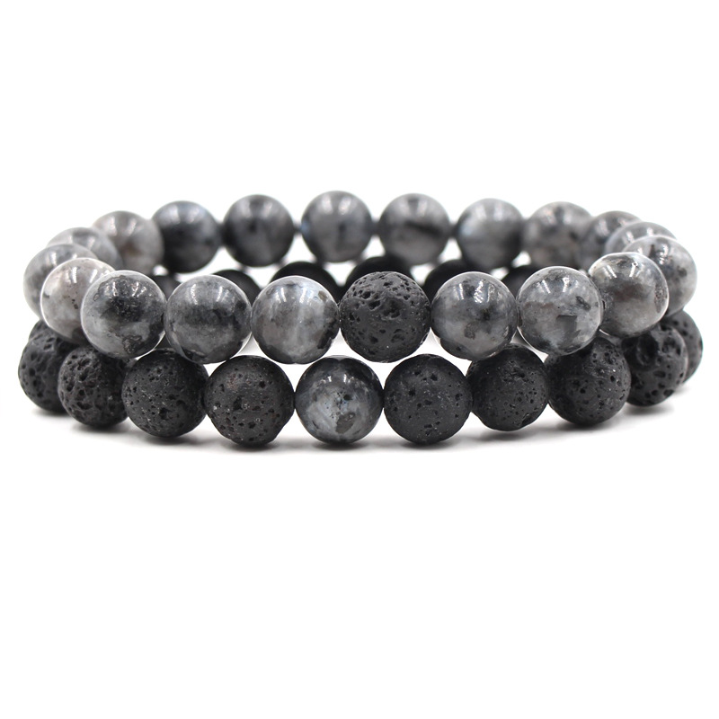 10MM Black Lava Stone Spectrolite Bead Bracelet Diy Aromatherapy Essential Oil Diffuser Bracelet Men Jewelry
