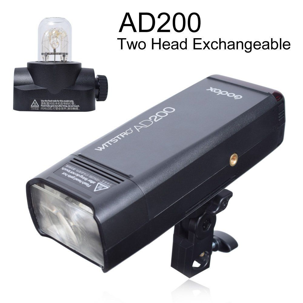 [ 2018 New Arrival ] Godox AD200 200W 2.4G TTL 1/8000s HSS 2900mAh Double Head Pocket Flash Speedlite for Canon Nikon Sony