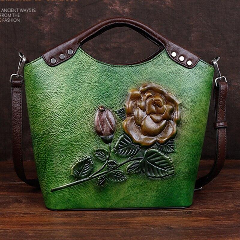 Bagaj ve Çantalar'ten Omuz Çantaları'de Doğal Cilt Messenger Kabartmalı Çanta Kadın Çanta Yüksek Kalite Vintage Çiçek Kadın Üst Kolu Omuz Hakiki Deri Çanta'da  Grup 1