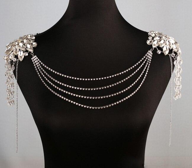 Woman's Jewelry Accessaries Crystal Tassel Necklace Shoulder Chain Flower Adornment Wedding Bridal Ornament Body Chain jj008 elegant golden multilayer tassel shoulder chain body chain for women