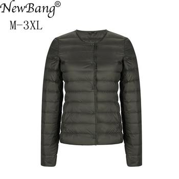 NewBang Matt Fabric Light Jacket Female Ultra Light Down Jacket Women Slim Windbreaker Without Collar Lightweight Warm Coat 2