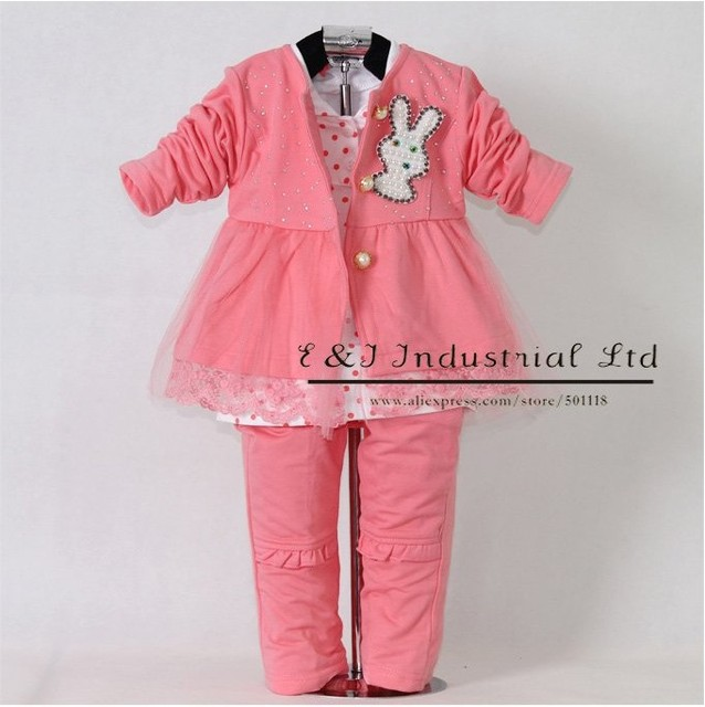 New Autumn Solid Baby Clothes Set 3PCS Adorable Lace Flower Embroidery Rose Red  Girl Coat +T Shirt+Tutu Skirt With Bow Clothing