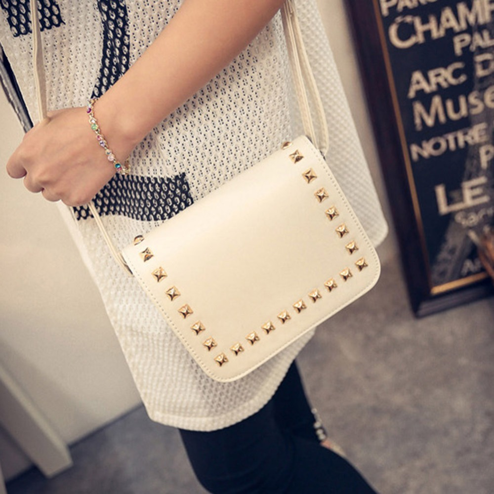 2017 Korean Style Women Messenger Bag Rivet PU Leather Crossbody Shoulder Bags Small Square Clutch Handbags Bolsa Feminina women cute pattern small shoulder bag crossbody messenger fashion bags new design pu leather shoulder bags bolsa feminina