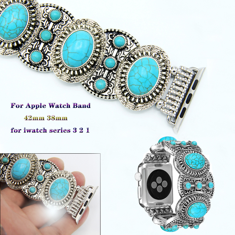 Jewelry Watch Band For Apple Watch 3 2 1 Turquoise Bohemia Style Bracelet Strap For iwatch 38mm 42mm loop Watchband accessories in Watchbands from Watches