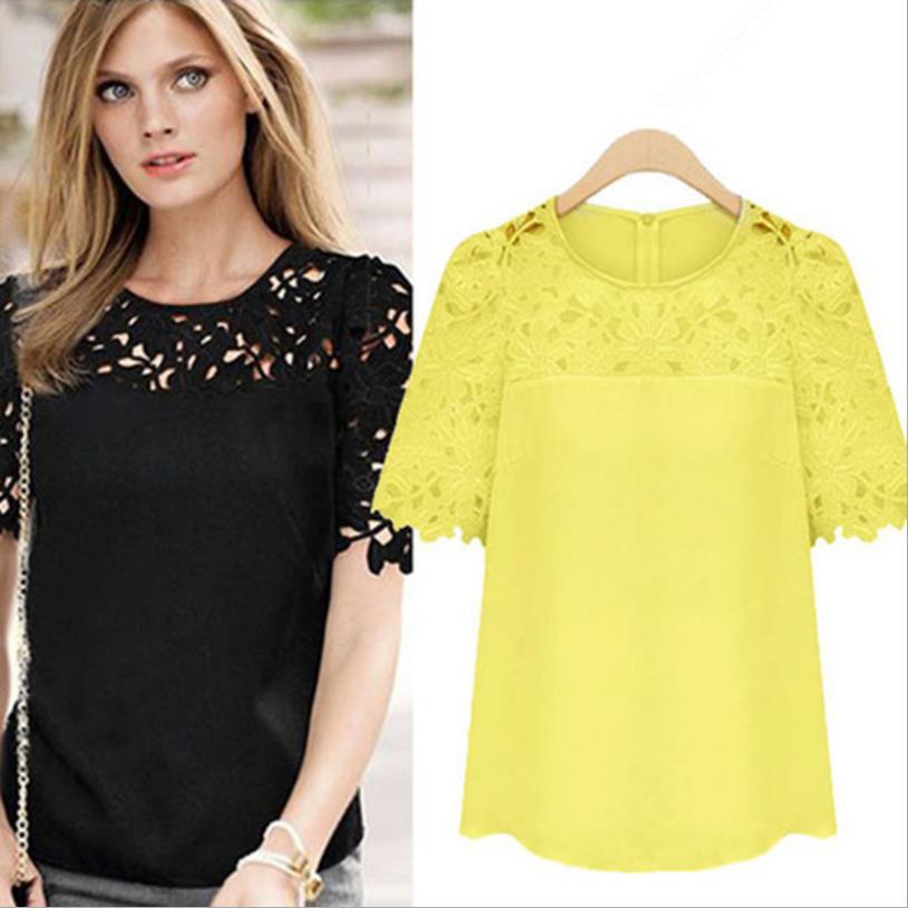 d4e382e6ab Kobieta Lato T shirt Nowy elegancki duży rozmiar Koszulki z krótkim rękawem  hollow out szyfonu Tee Haft pełny floral Topy