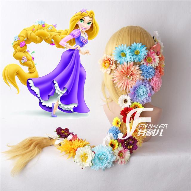 Tangled Cosplay Wig Princess Rapunzel Long Braids Artificial Flowers Headwear Women Blonde Synthetic Hair Adult