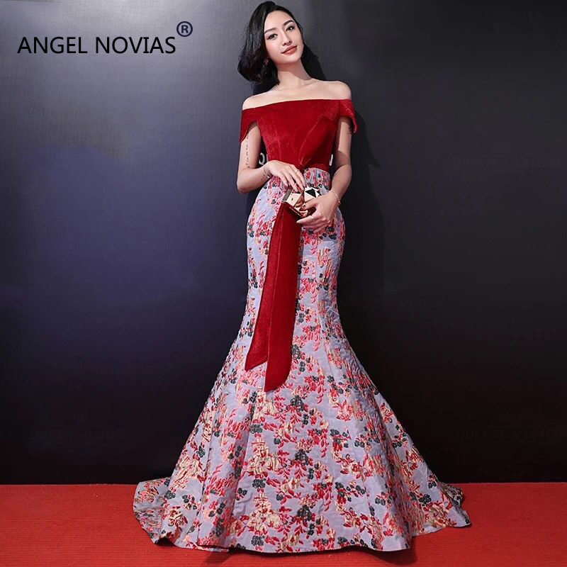ANGEL NOVIAS Long Mermaid Red Kleider Damen Abendkleider Arabic Evening Dress 2018 Formal Lebanon Celebrity Dress