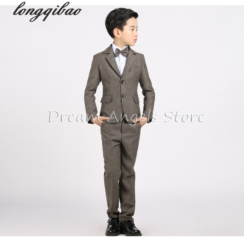 все цены на Jacket+Vest+Pants+Shirt+Bow tie)Boy Slim Fit Suits Plus Size 3-14T Boys Brown Wedding Suits With Pants Business Boys Formal Wear онлайн