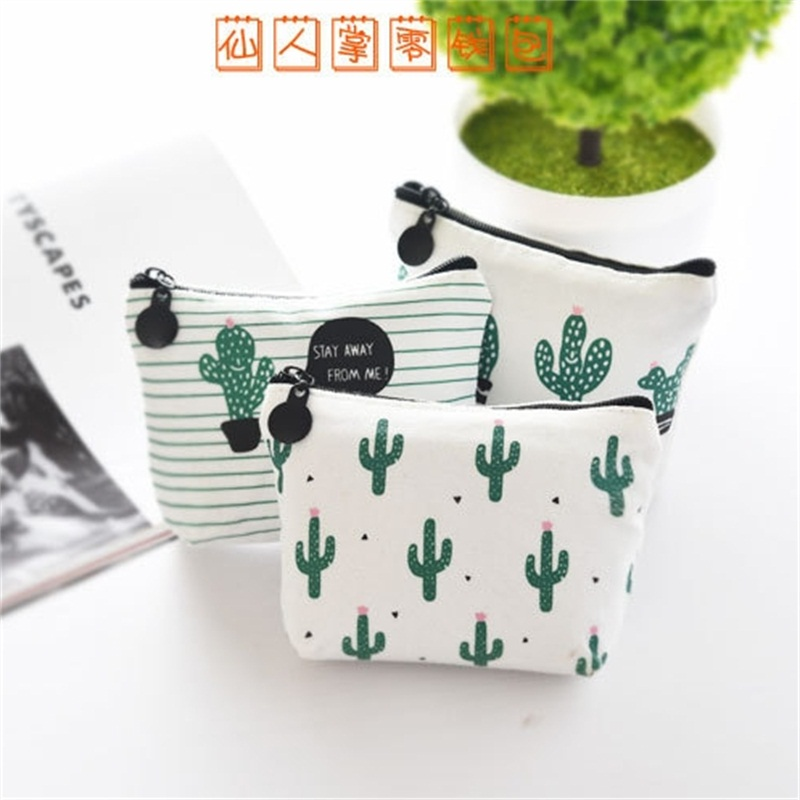 Free Shipping 3pcs/lot Kawaii Coin Case Small Canvas Key Bag Lovely Cacti Zipper Bag For Gift Office/school Supplies