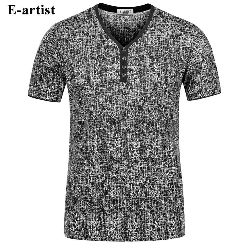 E artist Men s V Neck Short Sleeve Bamboo Pattern T Shirts Male Slim Fit Casual